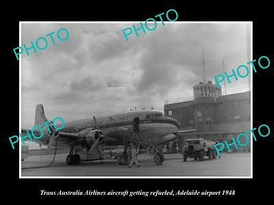 Old Large Historic Photo Of Taa Trans Australia Airlines Plane At Adelaide 1948