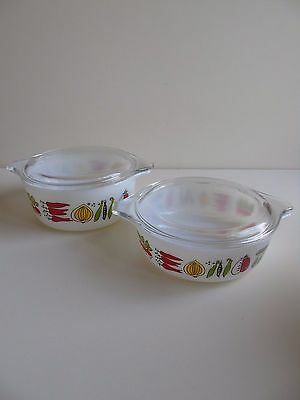 Two Small Vintage JAJ Pyrex Lidded Casserole Dishes