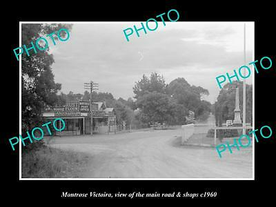 OLD LARGE HISTORIC PHOTO OF MONTROSE VICTORIA, VIEW OF MAIN ROAD & SHOPS c1960