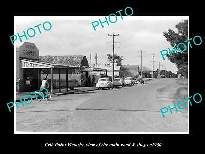 OLD LARGE HISTORIC PHOTO OF CRIB POINT VICTORIA, VIEW OF MAIN ROAD & SHOPS c1950