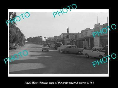OLD LARGE HISTORIC PHOTO OF NYAH WEST VICTORIA, THE MAIN St & STORES c1960