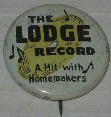 "Henry Cabot Lodge ""The Lodge Record - A Hit with Homemakers"" Pin 1 1/8"" Original"