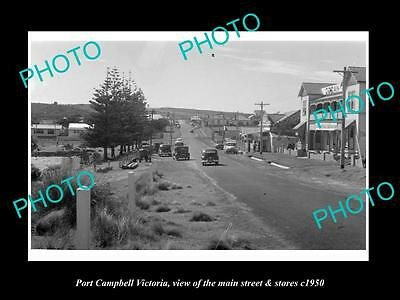 OLD LARGE HISTORIC PHOTO OF PORT CAMPBELL VICTORIA, THE MAIN St & STORES c1950