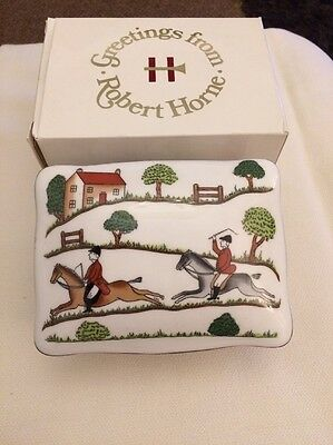 crown staffordshire hunting scene trinket box