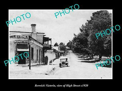 OLD LARGE HISTORIC PHOTO OF BERWICK VICTORIA, VIEW OF HIGH St & STORES c1920