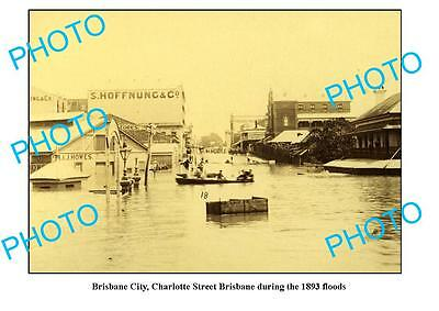 OLD LARGE PHOTO, BRISBANE CTY IN FLOOD c1893, CHARLOTTE St QLD