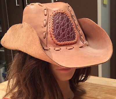 Distressed Vintage Exotic Leather Brown Camel Cowboy Style Hat Handmade