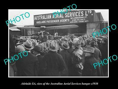 OLD LARGE HISTORIC PHOTO OF ADELAIDE SA, AUSTRALIAN AERIAL SERVICES HANGAR c1930