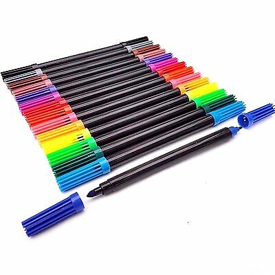15pcs Double Ended Felt Tipped Pens Duel Tip Fine/Thin & Thick Colouring Set