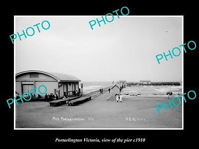 OLD LARGE HISTORIC PHOTO OF PORTARLINGTON VICTORIA, VIEW OF THE PIER c1900