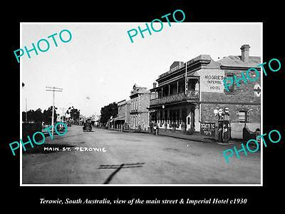 OLD LARGE HISTORIC PHOTO OF TEROWIE SOUTH AUSTRALIA, THE MAIN ST & HOTEL c1930