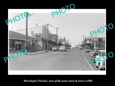 OLD LARGE HISTORIC PHOTO OF MORNINGTON VICTORIA, THE MAIN St & STORES c1960