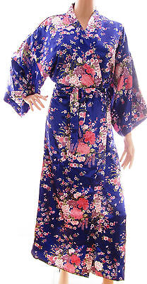 (#101) Blue Floral Design Vintage Silk Satin Style Oriental Ladies Robe Gown