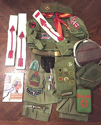 Vintage Boy Scout-Order of the Arrow-Uniform-First Aid Kit-Geo Schrade-Knife-Lot