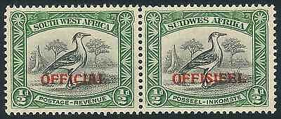 SWA 1945 Officials 1/2d pair of stamps (SG O18) (*)