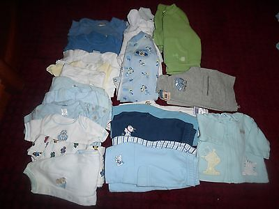 Baby Boy Size Newborn 0-3 mo. Clothes Lot Onesies Outfits Sleepers 24 Pc Set