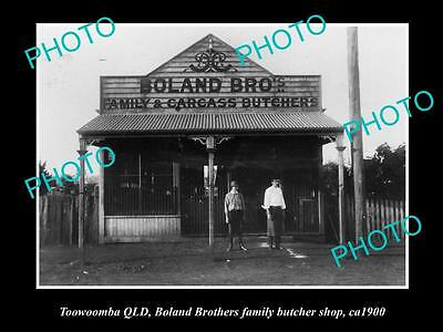 OLD LARGE HISTORIC PHOTO OF TOOWOOMBA QLD, BOLAND Bros BUTCHER SHOP c1900