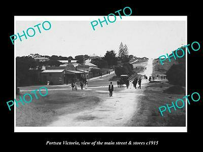 OLD LARGE HISTORIC PHOTO OF PORTSEA VICTORIA, THE MAIN St & STORES c1915