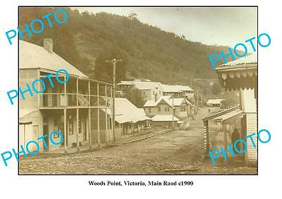 OLD LARGE PHOTO, WOODS POINT VICTORIA, VIEW OF MAIN ROAD c1900