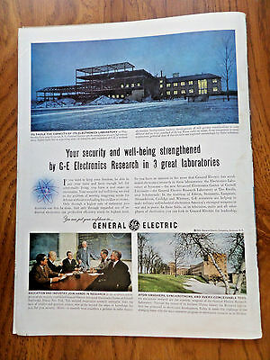 1952 GE General Electric Ad  Research Laboratories Syracuse NY Ithaca NY
