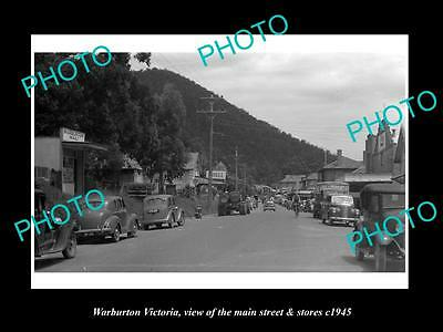 OLD LARGE HISTORIC PHOTO OF WARBURTON VICTORIA, THE MAIN St & STORES c1945