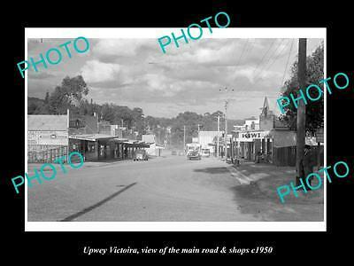 OLD LARGE HISTORIC PHOTO OF UPWEY VICTORIA, VIEW OF MAIN ROAD & SHOPS c1950