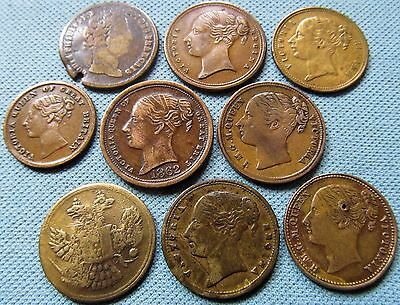 Lot of 9 1800s Queen Victoria Brass Copper Counters - To Hanover + Eagle etc.