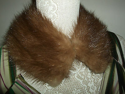 Vintage Real Fur Collar With Hook & Eye Fastening Lined