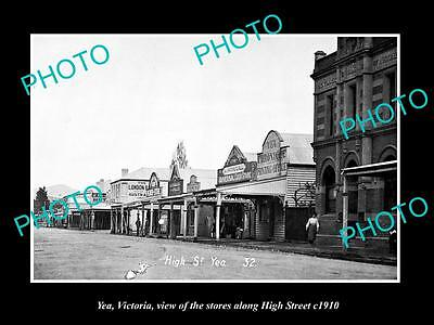 OLD LARGE HISTORIC PHOTO OF YEA VICTORIA, VIEW OF THE HIGH STREET STORES c1910 2
