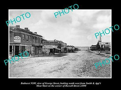 OLD LARGE HISTORIC PHOTO OF BATHURST NSW, VIEW OF THE GEORGE STREET & STORES c18