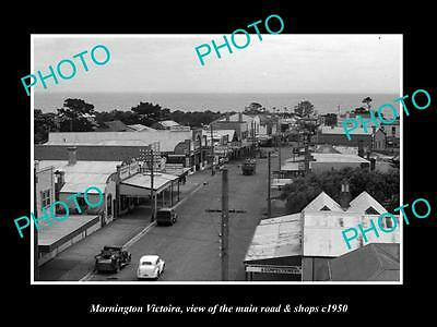 OLD LARGE HISTORIC PHOTO OF MORNINGTON VICTORIA, VIEW OF MAIN ROAD & SHOPS c1950