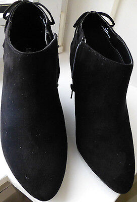 New LADIES BLACK ANKLE BOOTS SIZE 7 WIDE FIT SUEDE EFFECT
