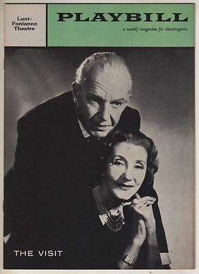 """Alfred Lunt & Lynn Fontanne  Playbill 1958  """"The Visit""""  Broadway"""