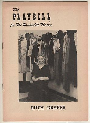 """Ruth Draper Broadway Playbill  1954 """"Ruth Draper And Her Company of Characters"""""""