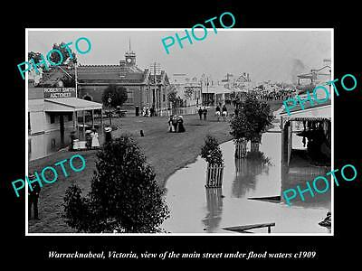 OLD LARGE HISTORIC PHOTO OF WARRACKNEBEAL VICTORIA, VIEW OF MAIN St FLOOD c1909