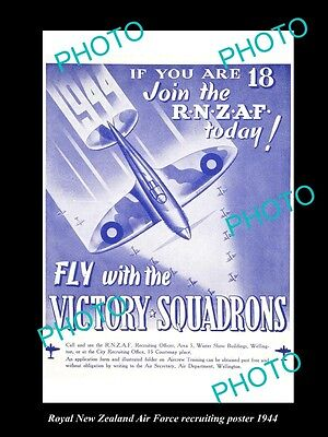 Old Historic Photo Of Rnzaf 1944 Royal New Zealand Air Force Wwii Recruit Poster