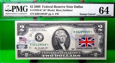 Money Us 2 Dollars 2009 Star Note Dallas Flag Of Great Britain Very Rare Unc