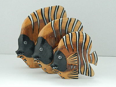 Set Of Three Fairtrade Wooden Fish Figures Ornaments