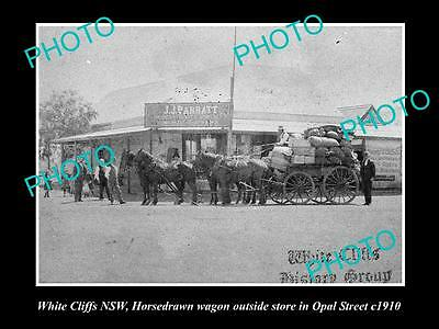 OLD LARGE HISTORIC PHOTO OF WHITE CLIFFS NSW, BARRATTS GENERAL STORE c1910