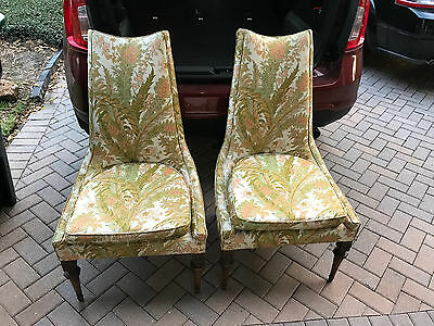 Vintage Pair Hollywood Regency Armless Slipper Chairs Mid Century Floral Print