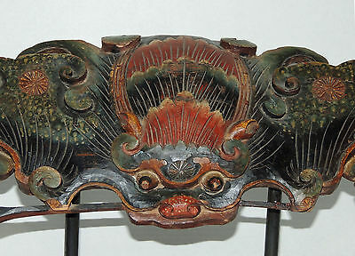 Exotic CHINESE / TIBETAN DOUBLE FACED BAT - Temple Carved  Wood Plaque
