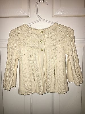 Baby Gap 12-18 Month Girls Ivory Cable Knit Sweater