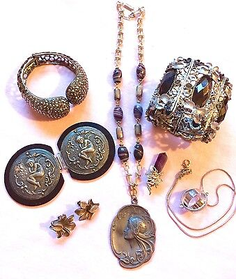Victorian Vintage Jewelry Lot Pewter STERLING 925 Swarovski Crystals Amethyst