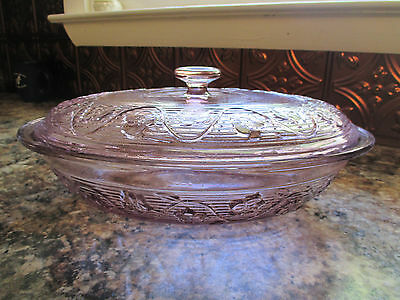 Amethyst Glass Oval Baking Dish with Handles and lid Lid ribbed floral