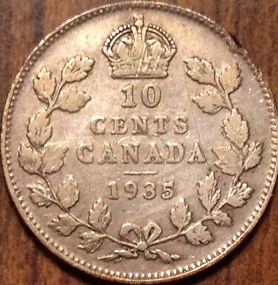 1935 Canada Silver 10 Cents Keydate Coin In Good Condition !