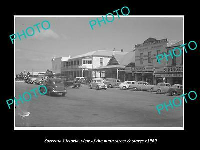 OLD LARGE HISTORIC PHOTO OF SORRENTO VICTORIA, THE MAIN St & STORES c1960