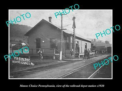 OLD LARGE HISTORIC PHOTO OF MANNS CHOICE PENNSYLVANIA THE RAILROAD STATION c1920