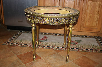 Vintage French Provincial Italian Rococo Hollywood Regency Gilded Wood Table