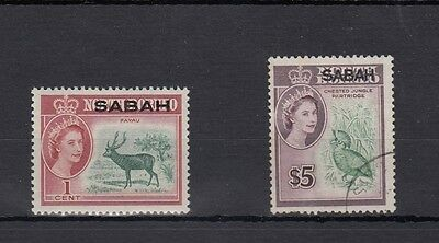 North Borneo .2-- Qe2 Unmounted Mint/used Sabah Overprinted Stamps On Stockcard