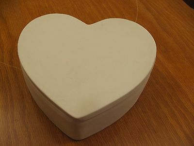 Ceramic Bisque Ready to Paint  HEART SHAPED TRINKET BOX